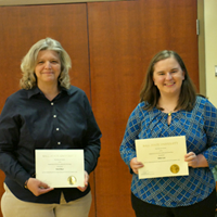 Outstanding Service Awardees Vicki Baur and Nikki Lee at the 2018-2019 CJC Department Awards Ceremony