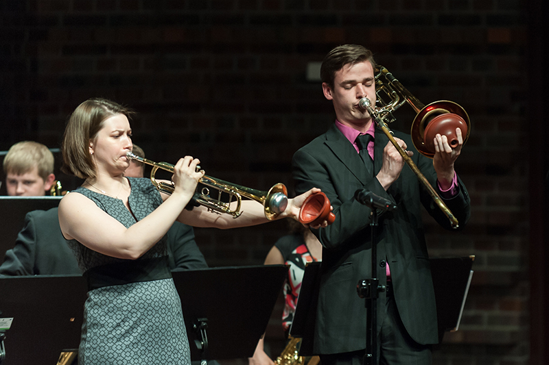 students perform jazz ensemble on stage