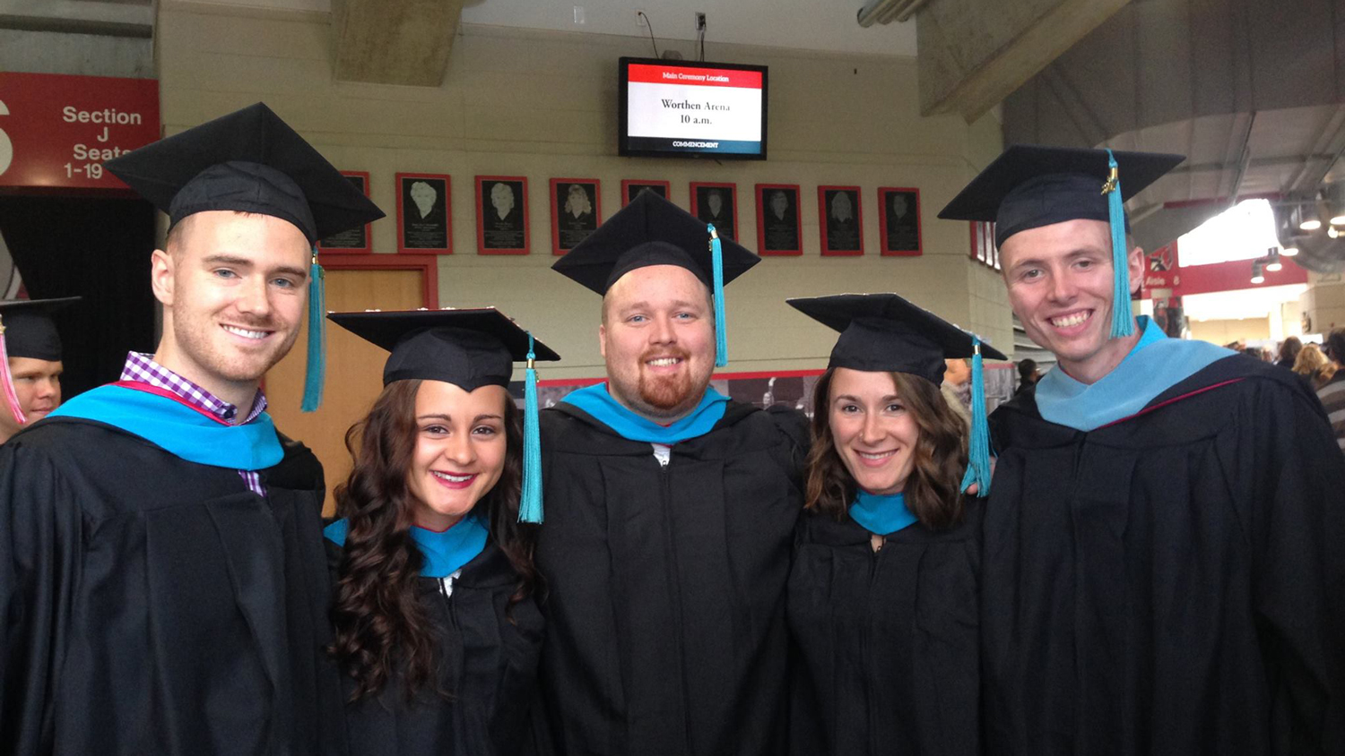students at commencement in Worthen Arena