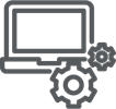 computer with gears icon