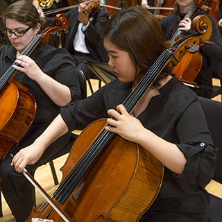 Cellists performing on stage