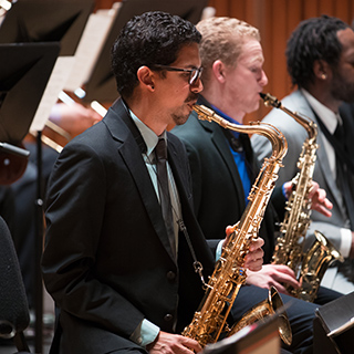 Jazz musicians performing on stage