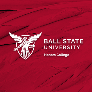 Ball State University Honors College logo on a red feather background